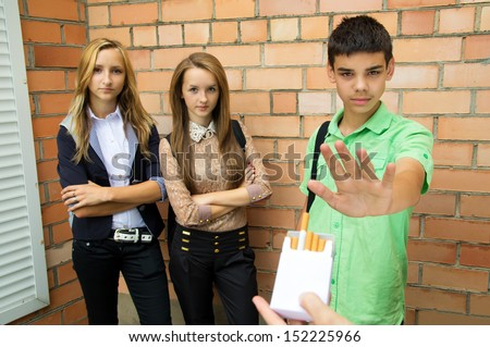 Young people say there is no smoke - stock photo