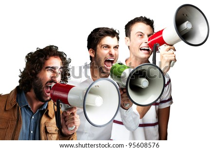 young people shouting with megaphone over white background - stock photo