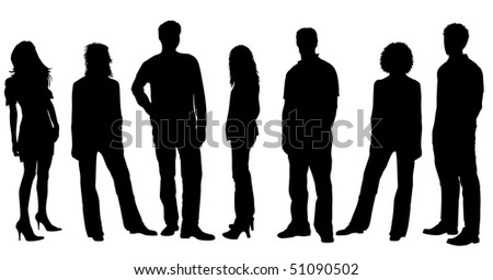 Young People Silhouettes - stock photo