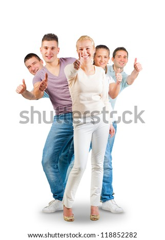 Young people standing and showing thumbs up - stock photo