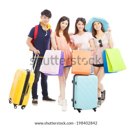 young people travel and shopping together - stock photo