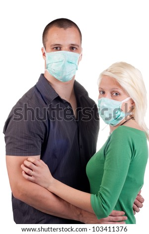 young people wearing flu masks over white