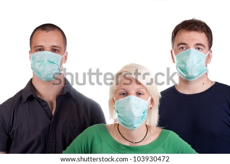 young people wearing flu masks over white - stock photo