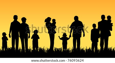 young people with children - stock photo
