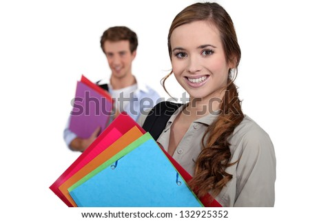 Young people with files - stock photo