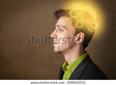 Young person thinking with a glowing machine head illustration - stock photo