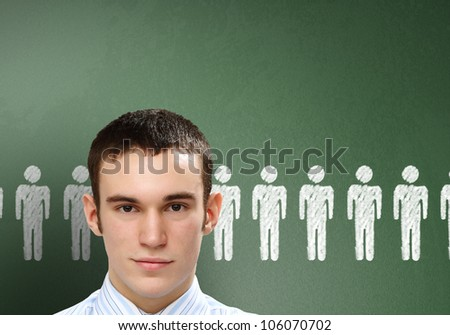 Young person with social media words on the background - stock photo