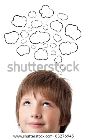 Young persons head thinking about white clouds - stock photo