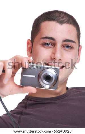 Young photographer over white background - stock photo