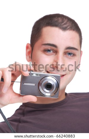 Young photographer over white background - selective focus - stock photo