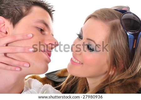 Young playful couple in love - stock photo