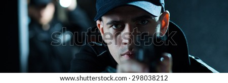Young policeman is on his first action