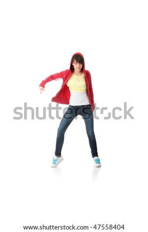 Young pop dancer, isolated on white background - stock photo