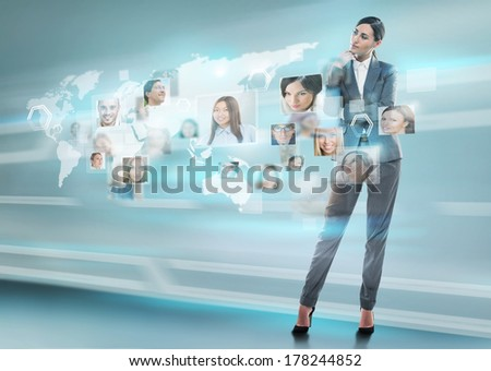 Young positive business man touching virtual button. Editable image