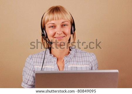 Young Positive Woman in Headset