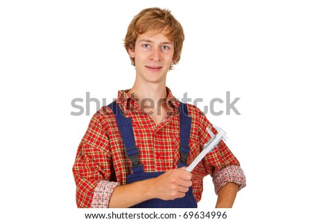 Young precision mechanic isolated on white background - stock photo