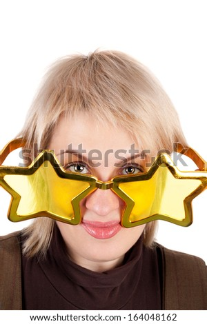 young pretty blond woman in the funny star shape glasses - stock photo
