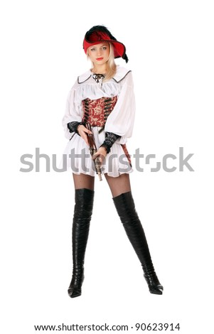 Young pretty blonde with gun dressed as pirates - stock photo
