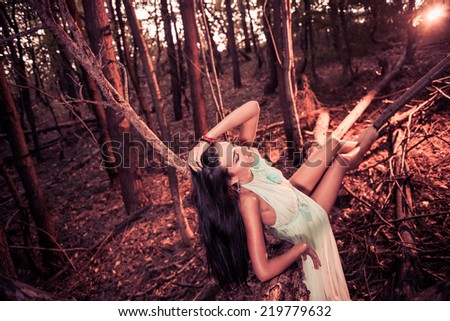 young pretty brunet in sexy dress at dry fall forest fallen tree