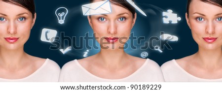 Young pretty business woman standing at her modern office and looking at camera. Clones are standing behind her. Different icons of her affairs floating around her head.