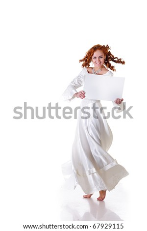 young pretty dancer in snowy wedding dress show blank frame, isolated on white - stock photo