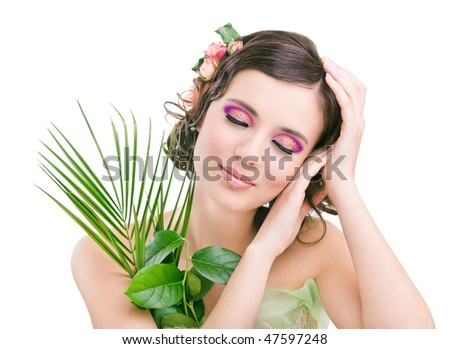 Young pretty girl on white background - stock photo