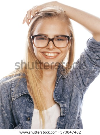 young pretty girl teenager in glasses on white isolated blond hair modern hipster - stock photo