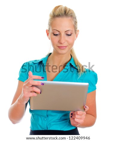 Young pretty girl with tablet computer. Isolated on white - stock photo