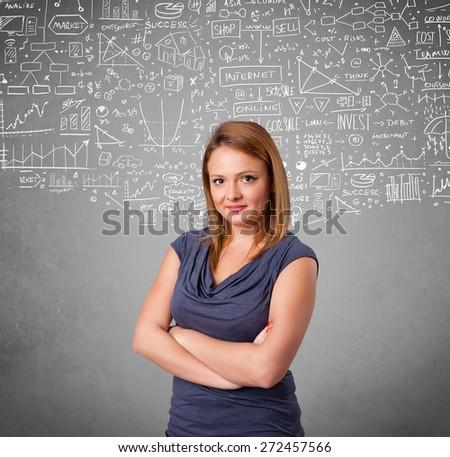 Young pretty lady with hand drawn white calculations and icons - stock photo