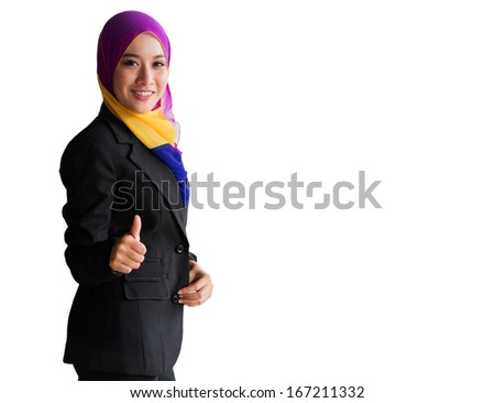 Young Pretty Muslim girl on white background - stock photo