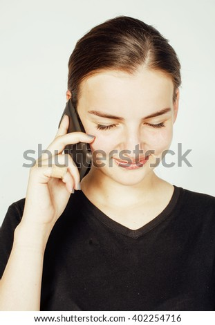 young pretty real brunette businesswoman talking on phone, having bad conversation close up, lifestyle concept - stock photo