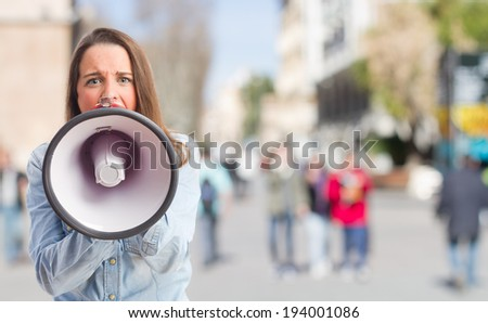 young pretty student  shouting - stock photo