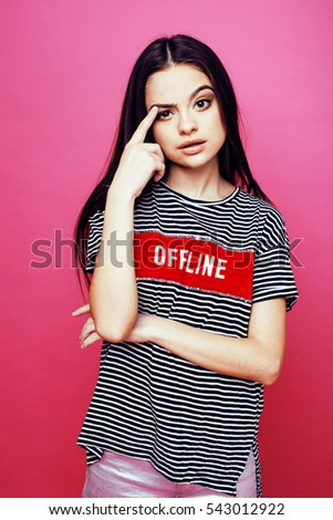 Pretty Young Teenage Girl Hipster Pink Stock Photo 545221426 Shutterstock