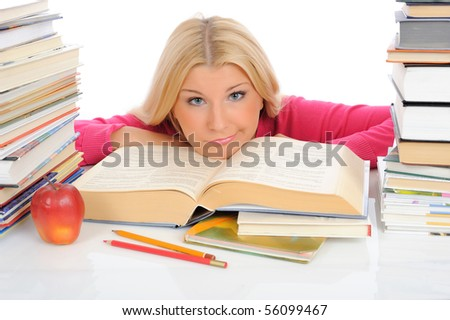 young pretty tired student girl with lots of books in panic. isolated on white background - stock photo