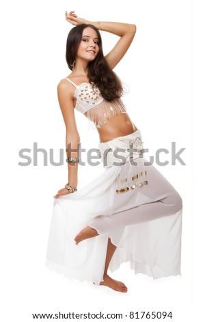 young pretty woman belly dancer. studio shot. - stock photo