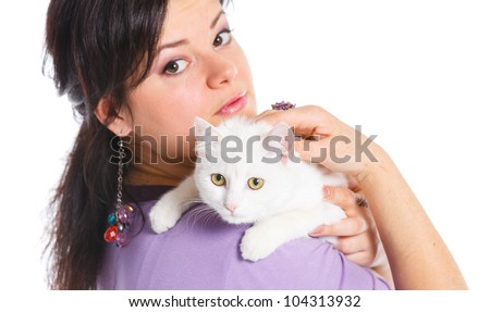 Young pretty woman hold her lovely white cat. Isolated on a white background - stock photo