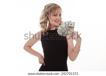 Young pretty woman holding dollars