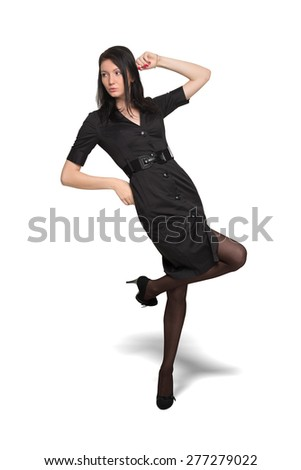 Young pretty woman in black dress isolated on wahite background