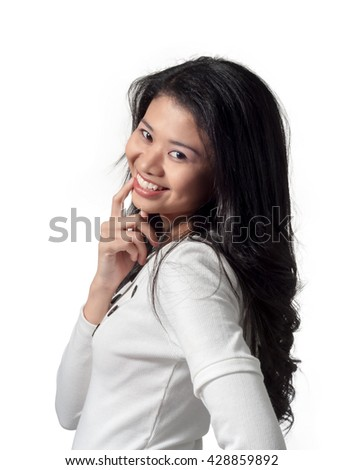 young pretty woman in business attire, isolated background - stock photo