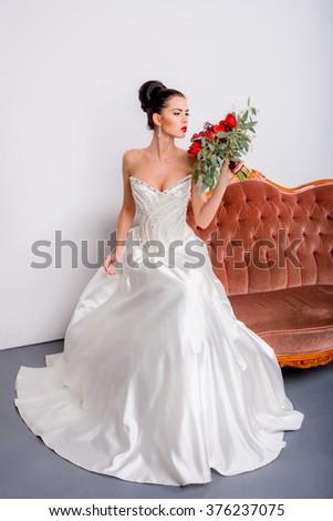 Young Pretty Woman White Wedding Dress Stock Photo 376237075 ...