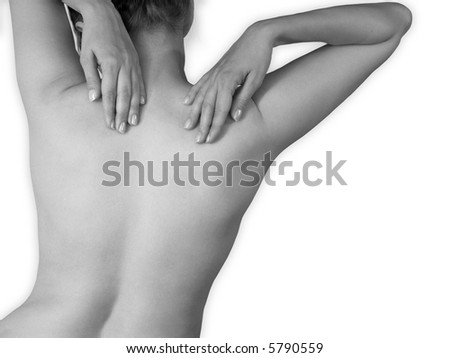 Young pretty woman. View of naked back with arms. Monochrome, isolated on white - stock photo