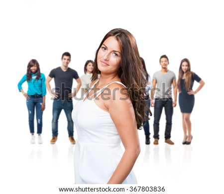 young pretty woman with a white dress - stock photo