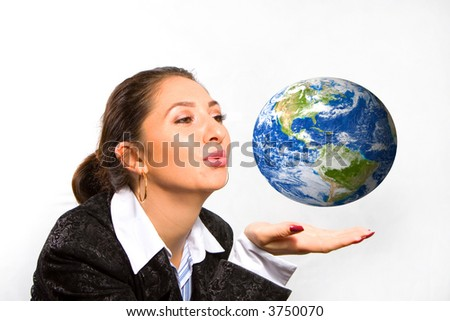 young pretty woman with Earth