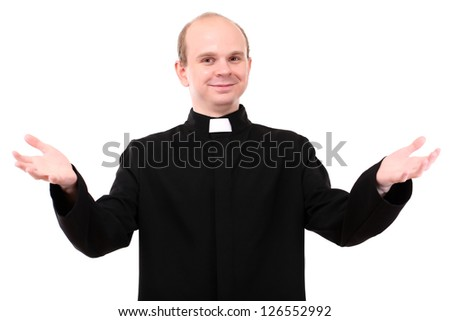 Young priest isolated on white - stock photo