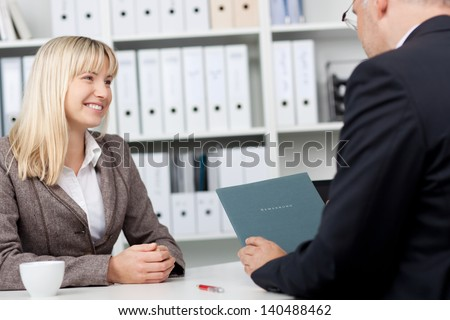 young professional and businessman in an interview