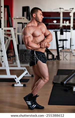 young professional bodybuilder posing in the gym: side chest - stock photo