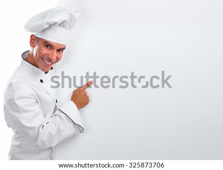 Young professional Chef man isolated over white background. - stock photo