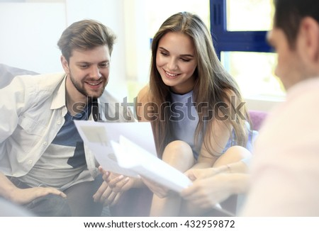 Young professionals work in modern office. - stock photo