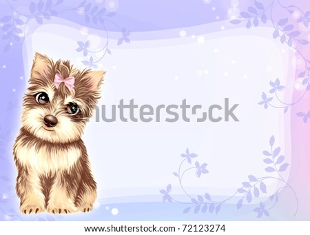 Young puppy by Freehand drawing. - stock photo