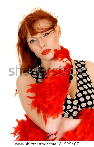 Young red haired attractive fashionable woman.  studio shot, white background